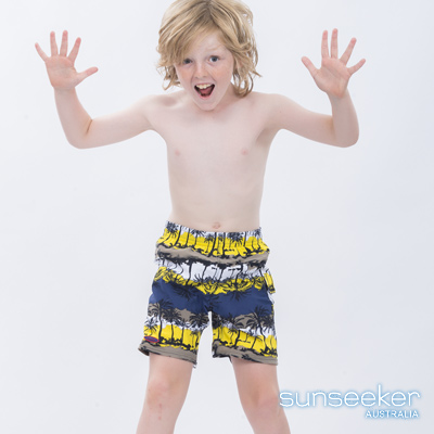 澳洲Sunseeker泳裝抗UV防曬衝浪泳褲-大男童泳褲/椰林黃