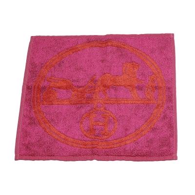 HERMES 愛馬仕馬車圖騰棉質口袋方巾/手帕(桃紅X紅)