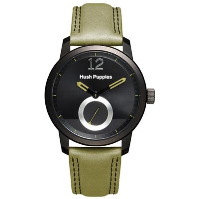 Hush Puppies 硬派時尚男錶-黑/橄欖綠/42mm