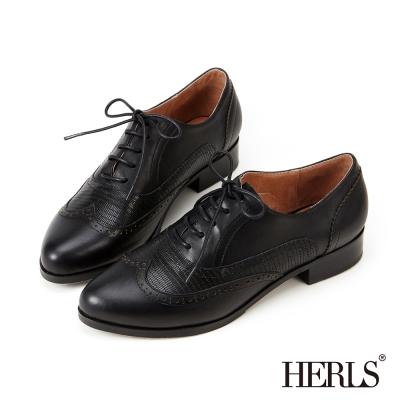 HERLS-全真皮紳士拼接牛津鞋-黑-蜥蜴紋