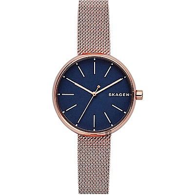 Skagen Signature 北歐簡約米蘭女錶(SKW2593)-藍x玫塊金/30mm