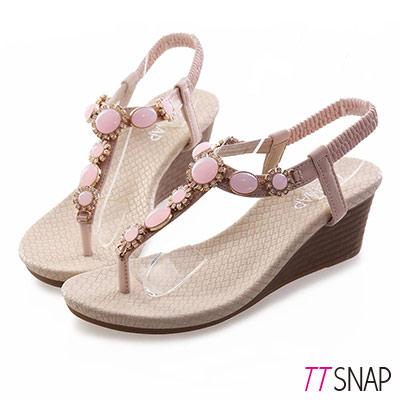TTSNAP楔型涼鞋-粉嫩寶石花型夾腳坡跟涼鞋 粉