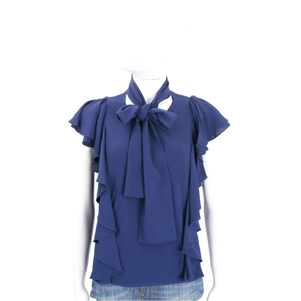 PINKO 藍色荷葉皺褶造型領結無袖上衣