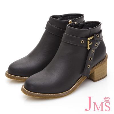 JMS-獨特風格皮帶扣環中跟短靴-黑色