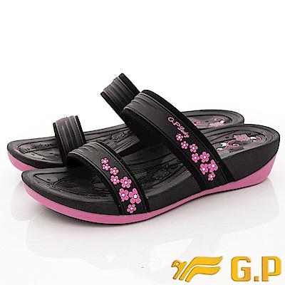 GP時尚涼拖-花漾夾腳拖鞋款-EI527W-15黑桃粉(女段)