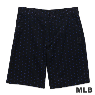 MLB-紐約洋基隊滿版LOGO休閒印花短褲-深藍(男)