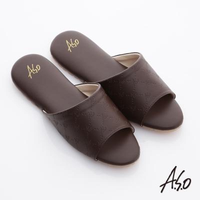 A.S.O 品味居家系列 經典LOGO壓紋超軟Q居家拖鞋 咖啡