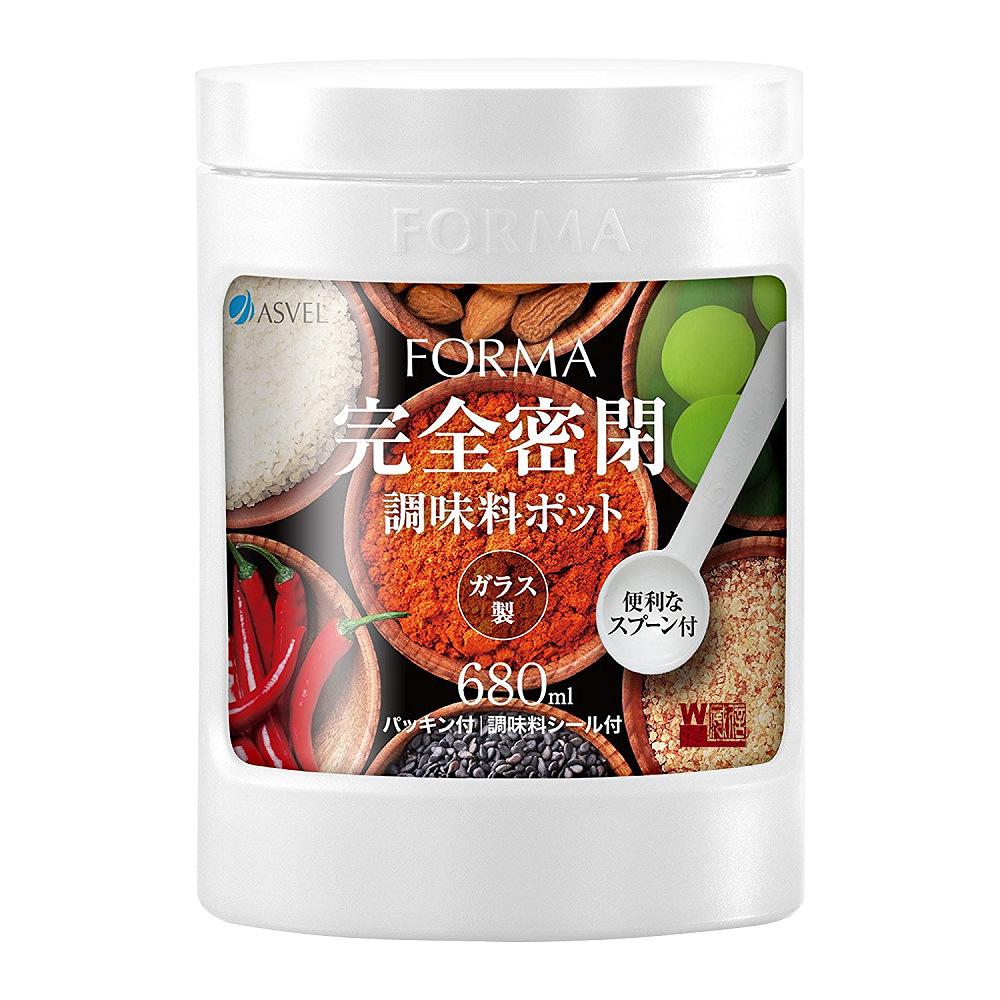 日本ASVEL 完全密閉 680ml玻璃調味罐(白色)