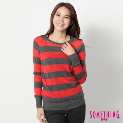 SOMETHING-條紋幾何長袖線衫-女-紅色