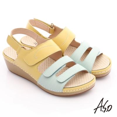 A.S.O 輕變鞋 全真皮粉彩氣墊涼鞋 淺黃色