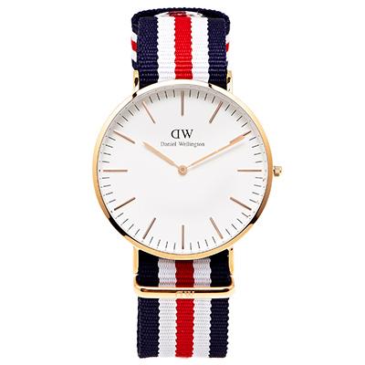 DW Daniel Wellington 經典Canterbury腕錶-白/金框/40mm