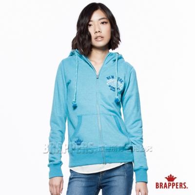 BRAPPERS 女款 小猴子繡花長袖連帽外套-水藍