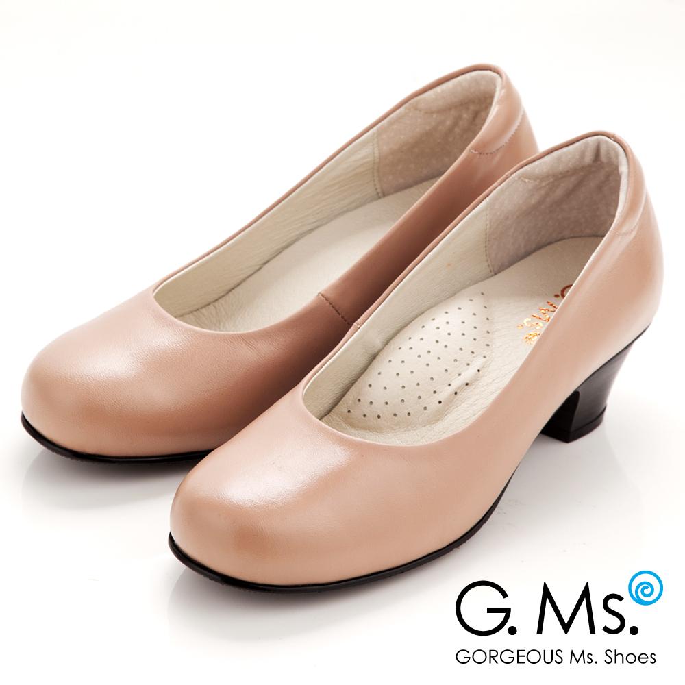 【G.Ms.】MIT系列‧通勤必備全真皮素面小粗跟鞋‧甜蜜粉