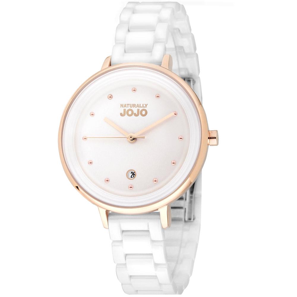 NATURALLY JOJO 經典風尚陶瓷腕錶-白34mm