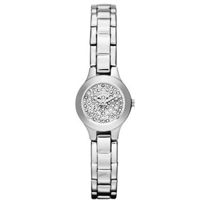 DKNY 璀璨潮流細膩晶鑽腕錶-銀/20mm