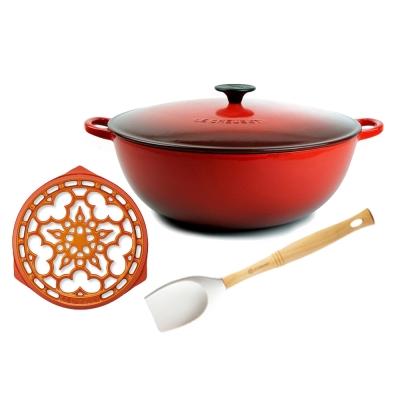 LE-CREUSET-琺瑯鑄鐵媽咪鍋-26cm-琺瑯鑄鐵鍋架-V鏟杓