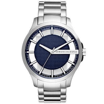 A│X Armani Exchange 時空遊者時尚都會簍空腕錶-藍X銀/47mm