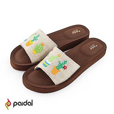 Paidal墨西哥風情仙人掌一片式厚底氣墊拖鞋