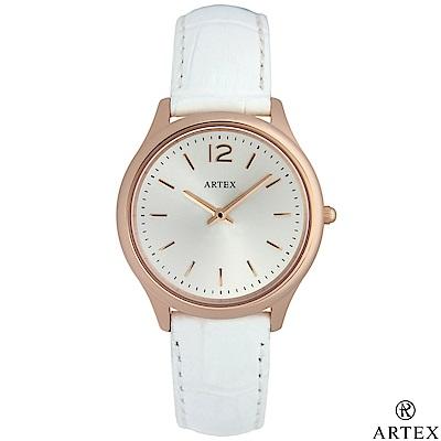ARTEX 5605真皮手錶-白/玫瑰金33mm