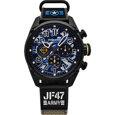 elegantsis Army 戰地迷彩三眼計時套錶-藍x黑/48mm