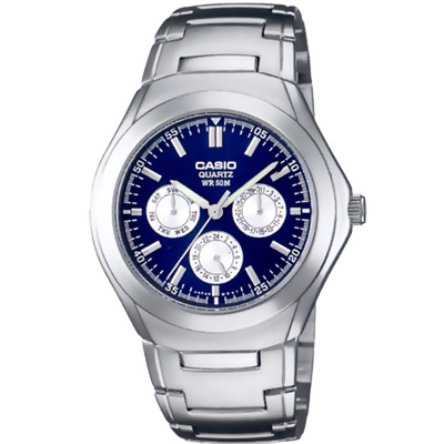 CASIO 簡約都會風三眼指針錶(MTP-1247D-2A)-白圈底藍