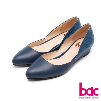 bac經典立方名媛尖頭素面低跟鞋藍