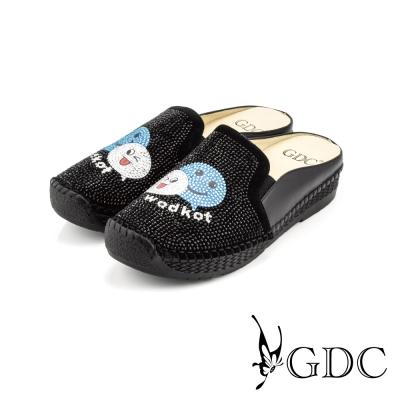 GDC-俏皮笑臉水鑽拼貼楔型厚底真皮休閒涼拖鞋-黑色