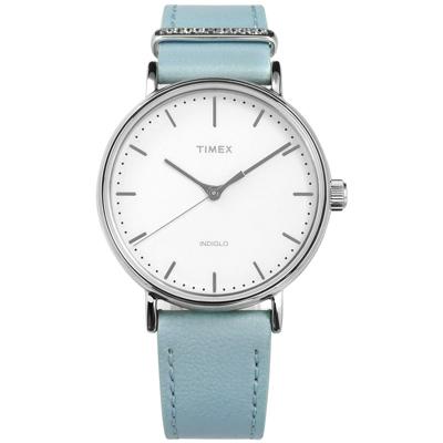 TIMEX 天美時 極簡風格 INDIGLO專利冷光照明 真皮手錶-白x藍/39mm
