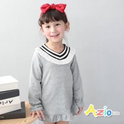 Azio Kids 童裝-上衣 百褶V領荷葉造型長袖T恤(灰)