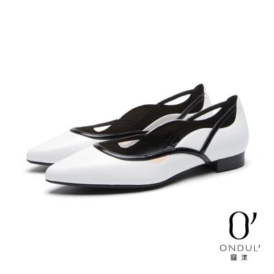 達芙妮x高圓圓 圓漾系列 平底鞋-黑白拼接曲線細帶平底尖頭鞋-白