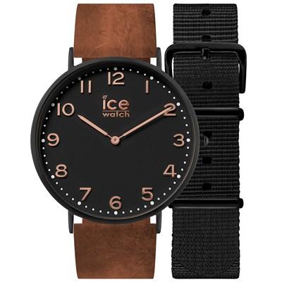 Ice-Watch 城市系列 復刻超薄簡約手錶-黑x咖啡色皮帶/41mm