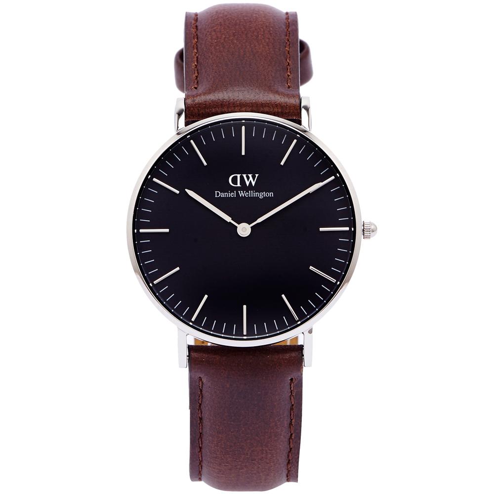 DW Daniel Wellington Bristol手錶-黑面X咖啡色/36mm