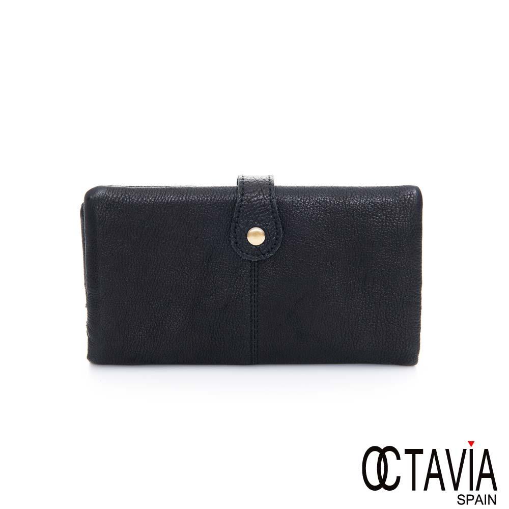 OCTAVIA 8 真皮-仿舊復古兩折壓扣長夾- 仿舊黑