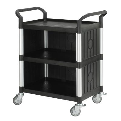 100%台灣製 標準多功能三層三面圍邊工具餐車/手推車/置物架-經典黑