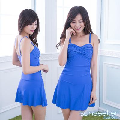 澳洲Sunseeker泳裝性感荷葉平口連身式洋裝泳衣-寶石藍