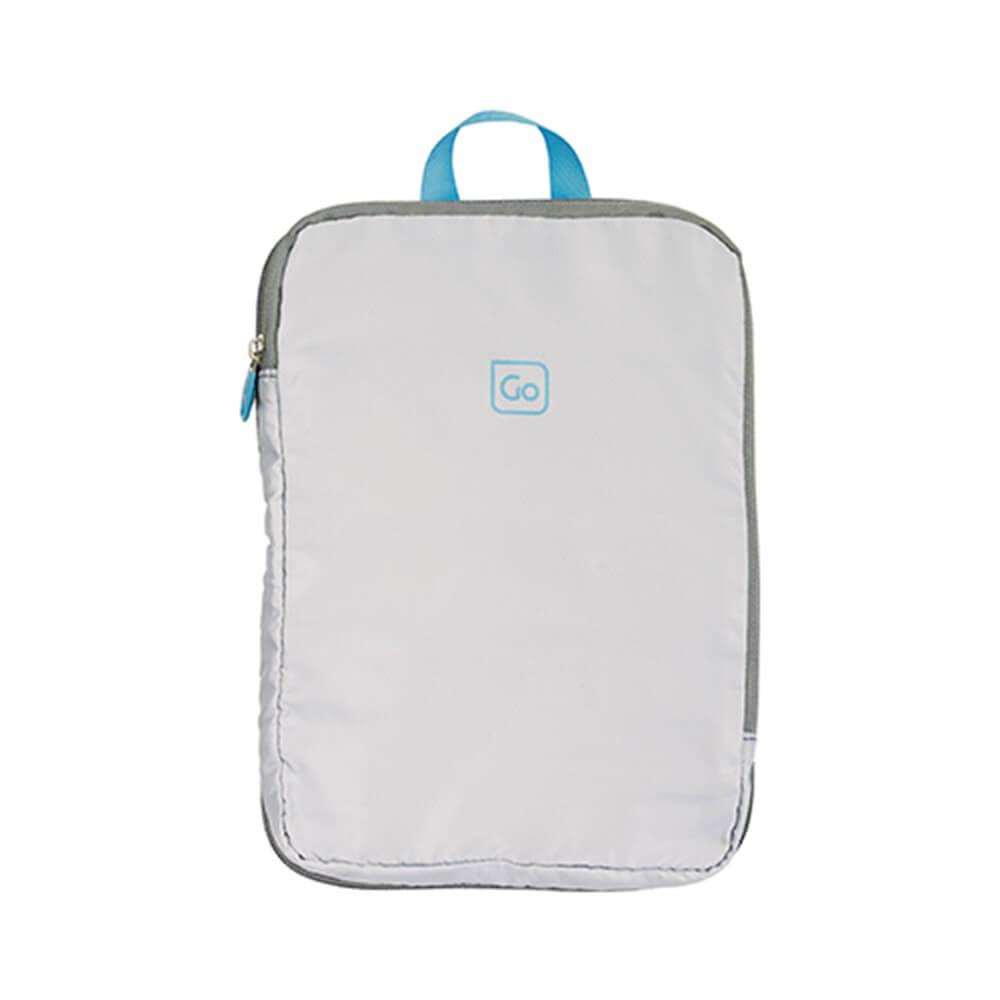Go Travel 配色衣物收納袋兩件組-淺灰+藍