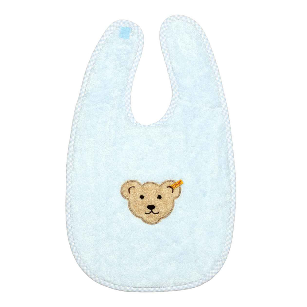 STEIFF德國金耳釦泰迪熊 - 藍色 大圍兜 (嬰幼兒衛浴系列)