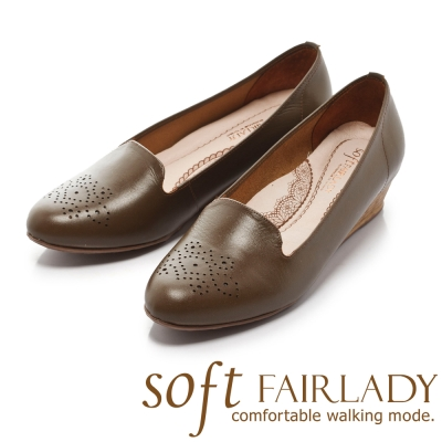 Fair Lady soft 芯太軟 甜美花樣縷空真皮楔型鞋 橄欖綠