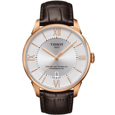 TISSOT 杜魯爾系列 Powermatic 80 機械腕錶-玫瑰金框x咖啡/42mm