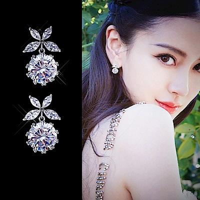 梨花HaNA 無耳洞韓國925銀蝶漾水晶小巧耳環