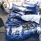 A-one - 台灣製 雙人床包+枕套二入 翻轉世界 雪紡棉磨毛加工處理