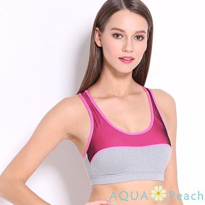 運動內衣 撞色拼接縷空挖背運動內衣 (玫紅色)-AQUA Peach