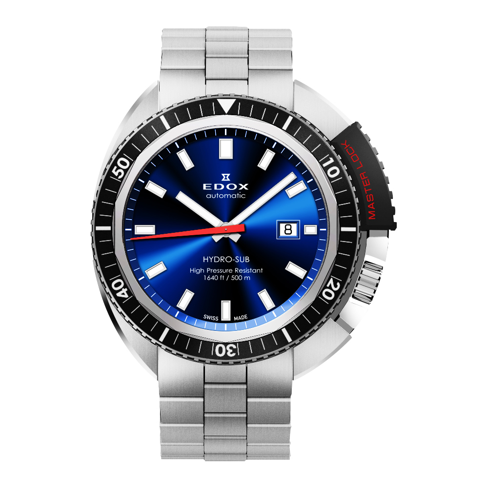 EDOX Hydro Sub 北極潛水500米機械腕錶-藍/46mm