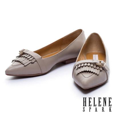 平底鞋 HELENE SPARK 皮帶流蘇造型羊皮尖頭平底鞋-米