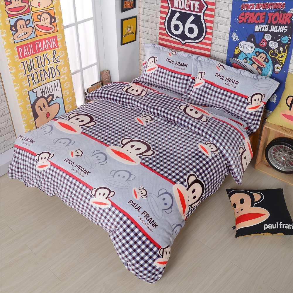 Paul Frank 數格樂趣 法蘭絨四件式床包組-雙人