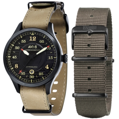 AVI-8 飛行錶 HAWKER HURRICANE 機械禮盒組-黑x卡其色/43mm