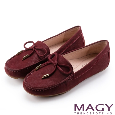 MAGY 簡約舒適 素雅牛皮百搭帆船鞋-紅色
