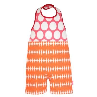 BIBPA 日本 露背式連身包屁衣 (圓粉+橘)-純棉日本製