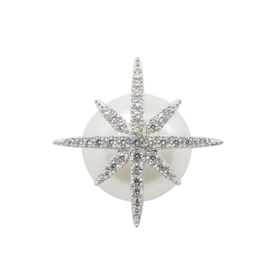 apm MONACO法國精品珠寶 閃耀銀色鑲鋯繁星珍珠單邊耳針式耳環