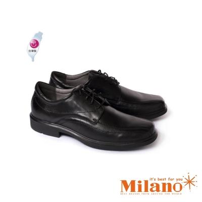 W&M 都會紳士減壓系列手工車正裝男仕繫繩皮鞋-黑